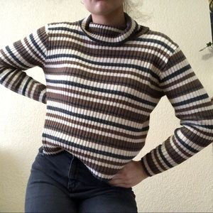 Brown and Cream Striped Turtleneck Sweater
